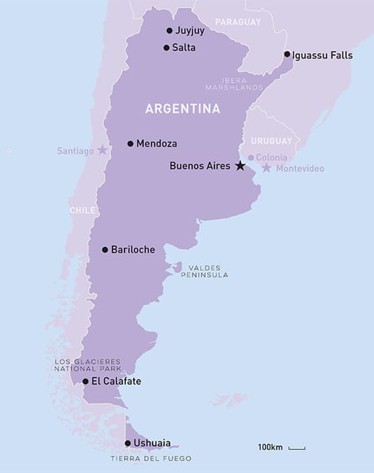 Argentina Tour TailorMade Holiday South America Travel Centre - Argentina highlights map