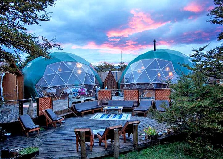 ecocamp main dome exterior, Torres Del Paine National Park, Chile, Patagonia