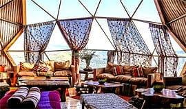 lounge-area Ecocamp. Patagonia Chile