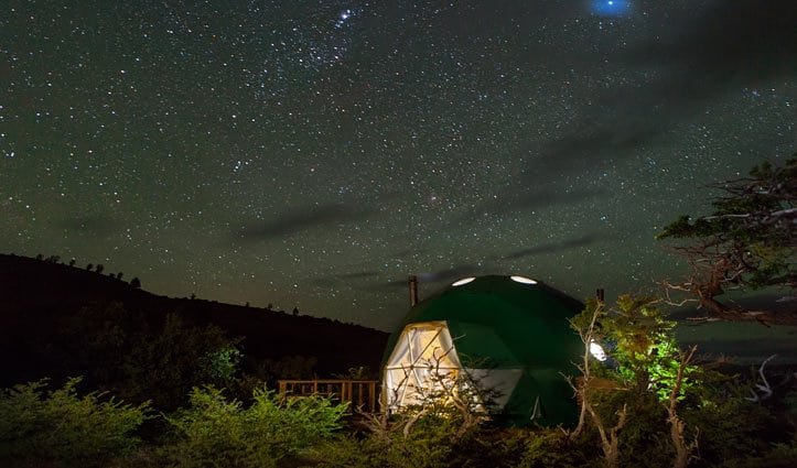 Night View Cascada Ecocamp Patagonia Chile