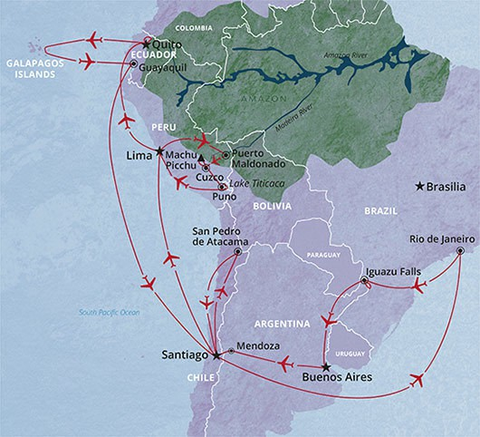 South America Circuit tour of Brazil, Argentina, Peru and Ecuador
