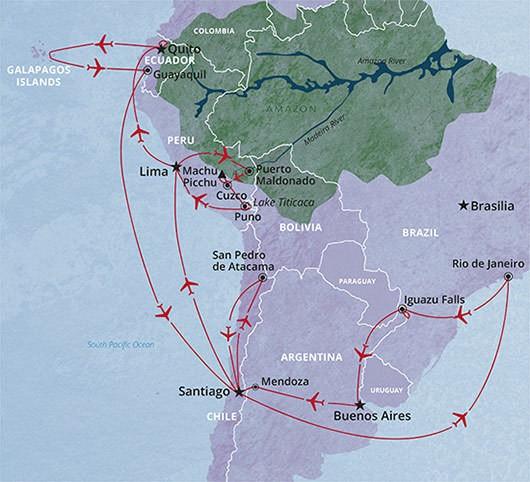 South America Circuit tour of Brazil, Argentina, Peru and Ecuador