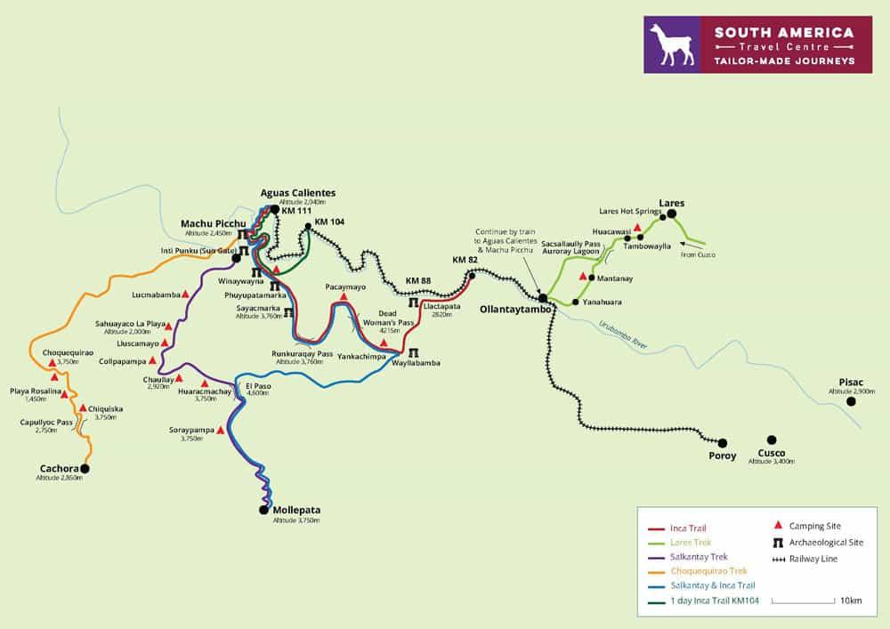 Sacred Valley Map for treks