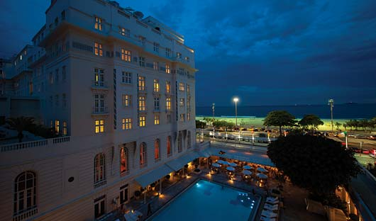 Belmond Copacabana Pool at night, Rio De Janiero