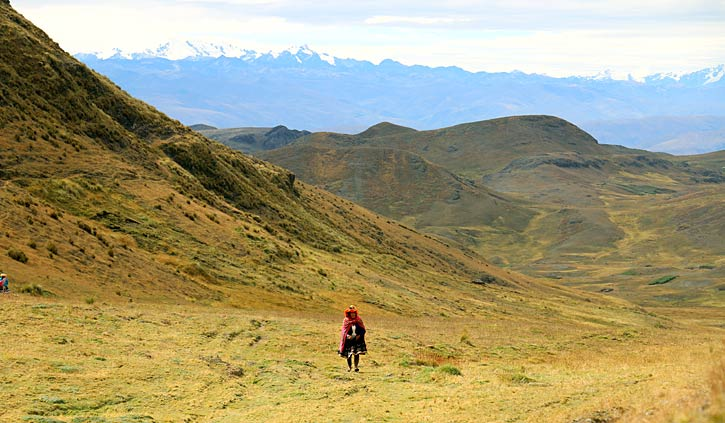 Peruvian Lady in the Highlands, Sacred Valley hiking, Peru