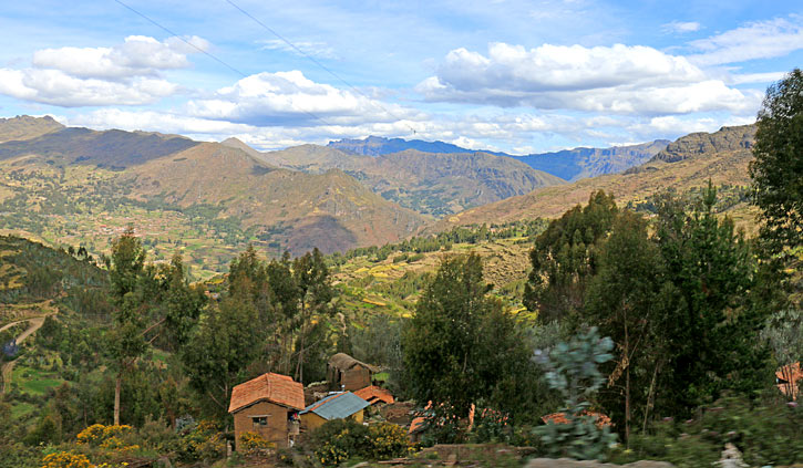 Town in the highlands of the Sacred Valley, Peru