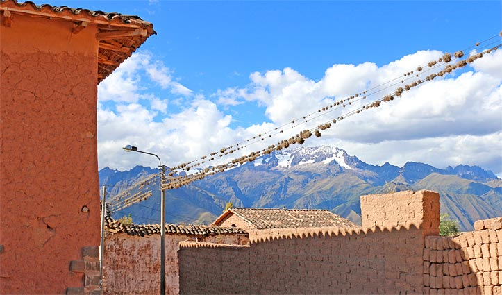 Town in the Sacred Valley overlooking valley, Peru