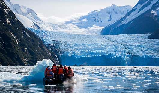 Zodiac-Cruising Patagonia Cruise toward a glacier
