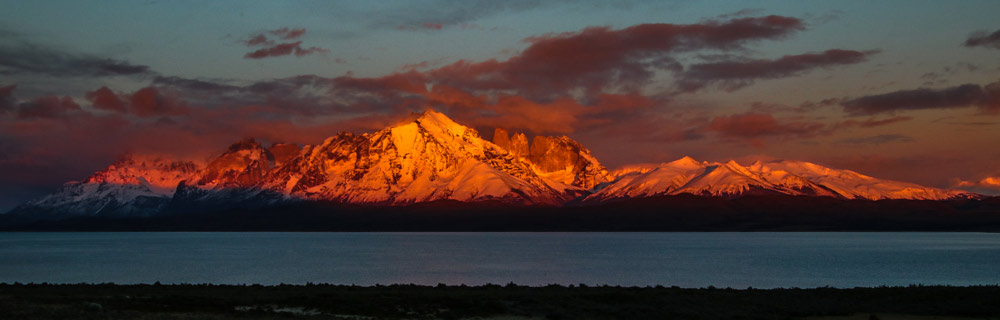 Sunrise showing the Paine Massif by Adrian Hill