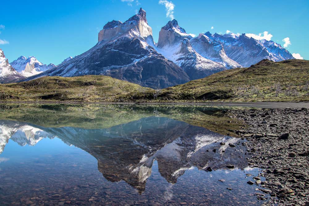 Los Cuernos, Horns with Reflection, Chile by Adrian Hill