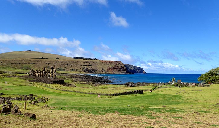 Moai on coast