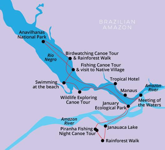 Amazon and Negro River cruise 6 days